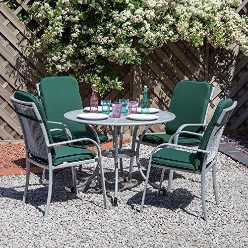 c38ea448e35a Alfresia Miami Garden Furniture Set for 4 in Silver with Green Cushions