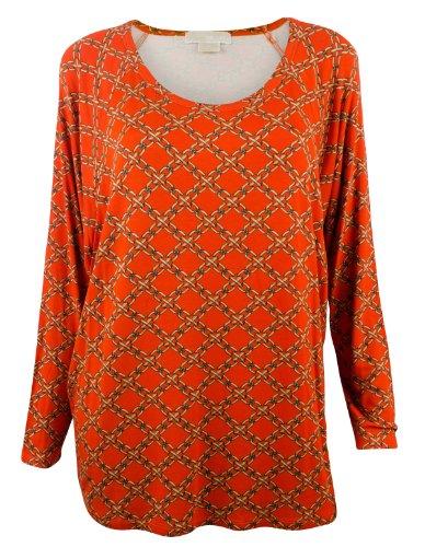 Michael Kors Women'S Plus Size 3/4 Sleeve Round Neck Top-Orangespice-3X