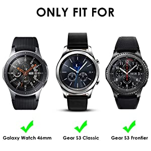 [3 Pack] KIMILAR Compatible Samsung Gear S3 & Samsung Galaxy Watch 46mm Screen Protector, Waterproof Tempered Glass Cover Compatible Gear S3 / Galaxy Watch 46mm Smartwatch Crystal Clear Scratch Resist (Color: 3-Packs)