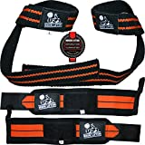 Wrist Wraps + Lifting Straps Bundle (2 Pairs) for Weightlifting, Crossfit, Workout, Gym, Powerlifting, Bodybuilding - Better Than Chalk & Leather - Support For Women & Men - Premium Quality Equipment & Accessories - Use Gloves, Hooks, Wrap & Strap to Avoid Injury During Weight Lifting - (Black/Orange) - 1 Year Warranty!