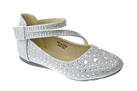 KD-01KM-Little-Girls-Rhinestone-Ballet-Ballerina-Flats-Silver-Glitter