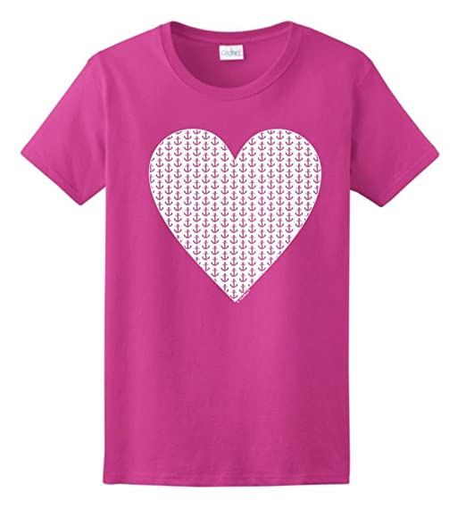 Preppy Heart with Anchors Ladies T-Shirt