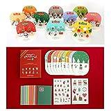 Amazon.co.jp訳あり / ポップアップ クリスマスカード / オーナメント クリスマス カード キット ( グリーティングカード + 封筒 ) ×10種 セット / シール付き (外箱損傷あり)