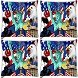 Snoogg America Wallpaper Pack Of 4 Digitally Printed Cushion Cover Pillows 18 X 18 Inch