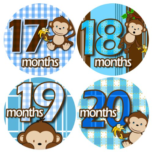Baby Monthly Photo Stickers For Bodysuits 13-24 MONTHS BLUE BANANA MONKEYS Baby Month Onesie Stickers Baby Shower Gift Photo Shower Stickers, baby boy monkeys by OnesieStickers