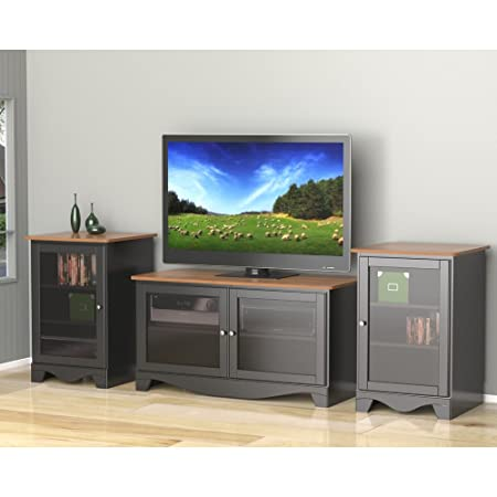 Cherry And Black 47 Inch Two Door TV Stand Two Audio Stands FMP25376