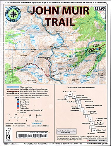 John Muir Trail Map-Pack: Shaded Relief Topo Maps (Tom Harrison Maps)