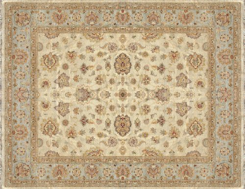 "9'6"" x 13'6"" Rectangular Loloi MAJEMM-07IVBB96D6 Ivory/Blue Color Hand Knotted Pakistani ""Majestic Collection"" Rug"