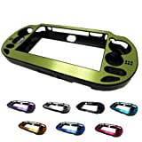 PlayStation PS VITA 1000 Case Cover Aluminum Brushed Metal Plated Plastic + Free Screen Protector (1st Generation PCH-100x Version) GREEN (Color: GREEN, Tamaño: PS Vita PCH-100x)