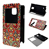 Galaxy Note 4 Case TUTUWEN View Window Painting Art Tribal Style Design PU Leather Flip Stand Case Cover For Samsung Galaxy Note 4