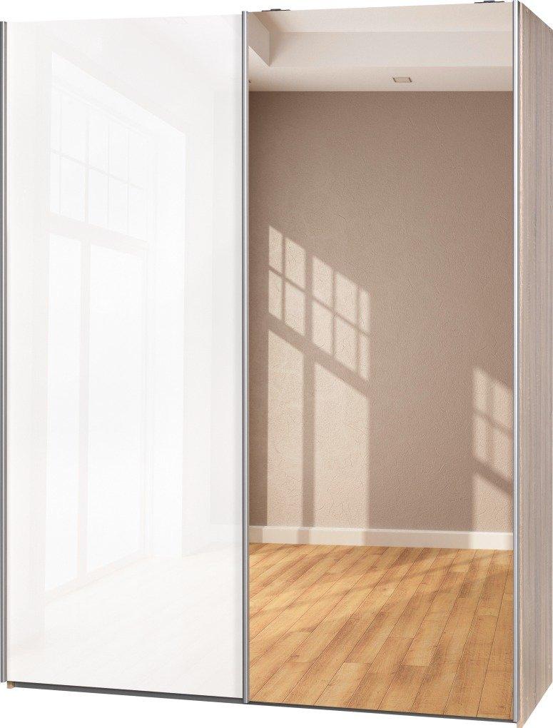 Schwebetürenschrank Soft Plus Smart Typ 43″, 150 x 194 x 61cm, Eiche/Weiß hochglanz/Spiegel