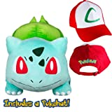 Pokedoll Bulbasaur 19'' with Ash Ketchum Hat Plush Bundle (Color: Green, Red, Tamaño: 19 Inches)