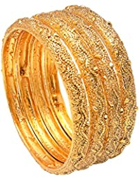 Geode Delight Gold Plated Traditional Bangles For Women And Girls Set Of 4