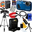 Canon PowerShot D30 12.1 MP Water & Shock proof Digital Camera with GPS & HD video, Blue (International Version) + Battery & AC/DC Charger + 11pc 32GB Dlx Accessory Kit w/ HeroFiber Cloth