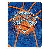 NBA New York Knicks Shadow Play Royal Plush Raschel Throw Blanket, 60x80-Inch