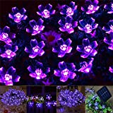 Exlight 50 Led Solar String Lights Outdoor Fairy Purple Blossom Decorative Gardens Indoor Christmas Party Wedding Patio