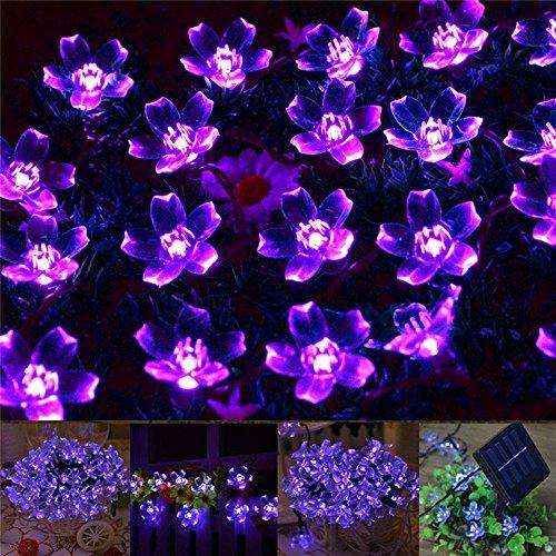 Exlight 50 Led Solar String Lights Outdoor Fairy Purple Blossom Decorative Gardens Indoor Christmas Party Wedding Patio