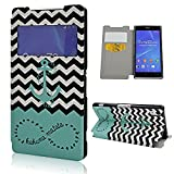 Sony Xperia Z2 Case, Ludan Painted Series Navy Anchor Window View PU Leather Wallet Flip Cover Protective Stand Case Fit for 5.2 inches Sony Xperia Z2 L50U L50T L50W D6502 D6503