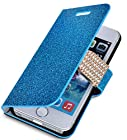 myLife Deep Sky Blue {Glitter Passion and Buckle Design} Faux Leather (Card, Cash and ID Holder + Magnetic Closing) Slim Wallet for the iPhone 5C Smartphone by Apple (External Textured Synthetic Leather with Magnetic Clip + Internal Secure Snap In Hard Rubberized Bumper Holder)