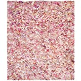 Safavieh Rio Shag Collection SG951P Handmade Area Rug, 6-Feet by 9-Feet, Ivory and Pink Polyester