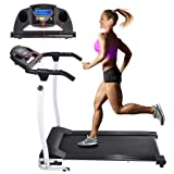 AW 1100W Folding Electric Treadmill Portable Power Motorized Machine Running Jogging Gym Exercise Fitness White (Color: White)