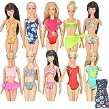 E-TING 5 Sets Handmade Swimwear Beach Bikini Bathing Swimsuits Outfits for Barbie Dolls