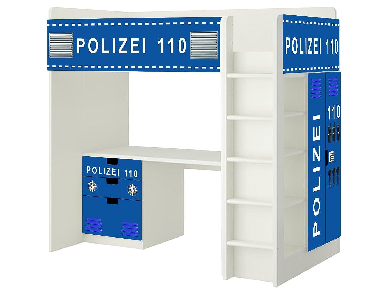 Polizei Aufkleber – SH10 – passend für die Kinderzimmer Hochbett-Kombination STUVA von IKEA – Bestehend aus Hochbett, Kommode (3 Fächer), Kleiderschrank und Schreibtisch günstig bestellen