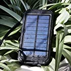 Solar Charger, Solar Power Bank 10000mAh Portable Rugged Shockproof Dual USB Solar Battery Charger Solar Power Charger Backup External Battery Power Pack Constructed with a Solar Panel for Emergency Charging For iPhone 6 Plus 5S 5C 5 4S, iPod 5 4, Galaxy S6 S6 Edge S5 S4 S3 Note 4 3, LG G3, Nexus, HTC One M9, Gopro Camera, GPS and More (Black)