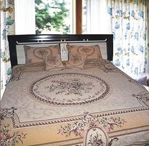 DaDa Bedding YFJF-D-001-5 5-Piece Elegant Chenille Woven Bedspread, Queen, Cream