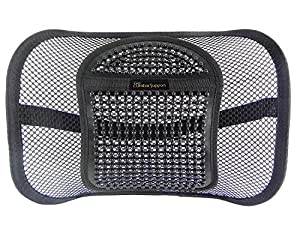 Go Lumbar Support for Car Office Chair | Premium Breathable High Density Mesh Lumbar Support Cushion with Natural Maple Wood Beads and Adjustable Strap for Back Pain and Poor Posture Fits to all Chair