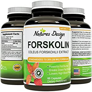 Pure Forskolin Extract, Highest Pharmaceutical Grade ★ Recommended Dosages ★ 250mg at 20 Percent Standardization - Best Formula for Weight Loss ★ Premium Potency & Quality for Women & Men ★ Fully Guaranteed By Natures Design 60 capsules