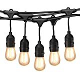 Mpow 49ft Outdoor String Lights, Waterproof Dimmable LED String Light, 15 Hanging Sockets, 1.5W Vintage Bulb (1 Spare), Connectable Edison String Lights Create Cafe Ambience for Patio Backyard - Black (Color: Black)