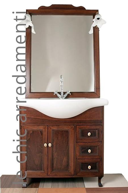 arredo bagno arte povera 85 cm con lavabo in ceramica