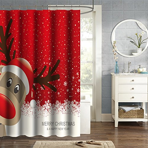 New Year Gift by HGOD Designs,Bath Decor, Waterproof Polyester Shower Curtain with Christmas Reindeer Merry Christmas Happy New Year, 66*72