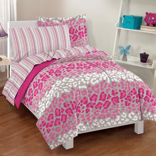 Dream Factory Safari Girl Pink Leopard Ultra Soft Microfiber Comforter Sheet Set, Full, Multi-Colored front-441198