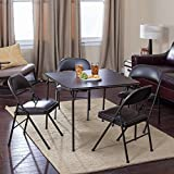 Meco Sudden Comfort Deluxe Double Padded Chair and Back- 5 Piece Card Table Set - Cinnabar