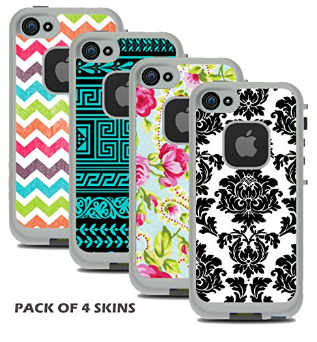 Protective Designer Vinyl Skin Decals for LifeProof FRE iPhone SE / 5 / 5S Case - Cool Trendy Floral, Damask, Chevron & Tribal Design Patterns (Pack of 4 Skins) - [TeleSkins] - Only SKINS and NOT Case (Iphone 4 Lifeproof Case Blue compare prices)