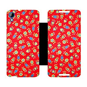 Skintice Designer Flip Cover with Vinyl wrap-around for HTC Desire 820, Design - Flower Pattern