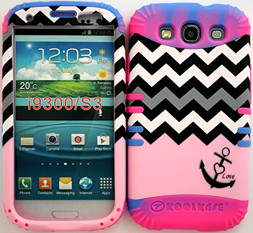 Hybrid Impact Rugged Cover Case Baby Pink Block Chevron Anchor Hard Plastic Snap On Over Two Tone 1 Silicone For Samsung Galaxy Slll S3 Fits Sprint L710, Verizon I535, At&T I747, T-Mobile T999, Us Cellular R530, Metro Pcs And All front-937023