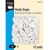 Dritz 984-H-9 Plastic Snaps with Heart Design, White, Size 20 (1/2-Inch) 12-Count (Color: White, Tamaño: Size 20)
