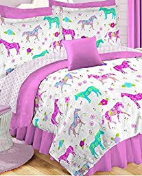 Girls Pony On Parade Horse Full Comforter, Sheets & Shams (7 Piece Bed In A Bag)