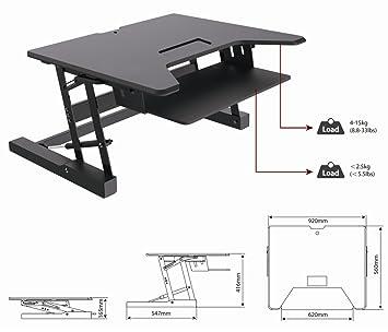 ezriser36altura ajustable Sit/Stand Escritorio Ordenador elevador, Dual monitor capaz, 36cm de ancho con teclado bandeja–acabado en negro