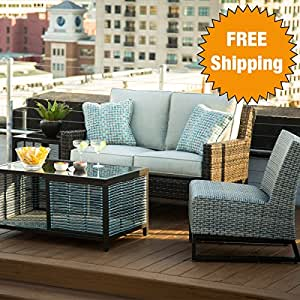 Del Mar 4 Piece Outdoor Living Room Set 1
