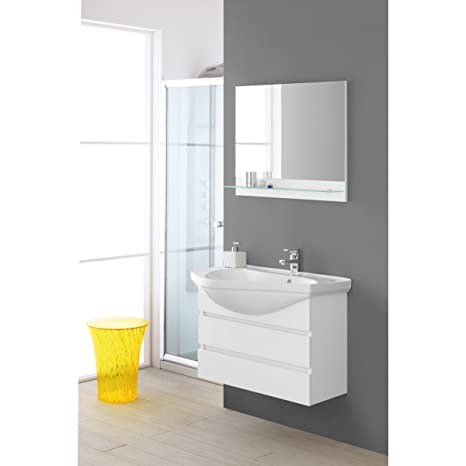 Mobile bathroom bath Suspended White Lacquered Composition 80 cm Magnum