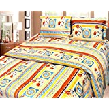 Cosmosgalaxy Cotton Double Bedsheet With Pillow Covers - Queen Size, Multicolor - B00SWKN62E