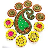 Handicraft Designer Rangoli - Jewel Stone Decorations Of Gold, Red, Silver Accents On Large Dolphin Motif, With Decorative Pieces And Yellow Tealight Candle Holders Placed Around - Green Base Color - Exquisite, New Design - 18 Inch Dia - 10 Piece Set - Pa
