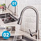 BHQ 1006 Modern Touch On Stainless Steel Single Handle Single Hole Pull Out Spray Kitchen Faucet, Brushed Nickel Pull Down Kitchen Sink Faucets updated version adapter.