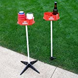 JDT Kaddy Elevated Drink Holders (Set of Two) - Comes with both ground stakes and hard surface stands. Great for outdoor games.