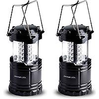 Divine LEDs Bright 2 Pack Portable Outdoor LED Camping Lantern (Black)