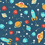 Space Race Children's Fabric - space rockets, flying saucers, planets, aliens and stars - turquoise, yellow, red, sand beige and white on a pearl night blue base cloth 100% Cotton Designer Print 155 cm (61 inches) wide Per half metre